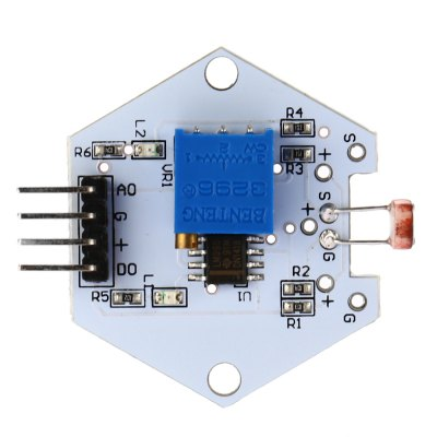 DIY LDTR - 0010 Photo Resistor Sensor Module for ArduinoSensors<br>DIY LDTR - 0010 Photo Resistor Sensor Module for Arduino<br><br>Package Contents: 1 x Photo Resistor Sensor Module<br>Package Size(L x W x H): 7.00 x 5.00 x 3.00 cm / 2.76 x 1.97 x 1.18 inches<br>Package weight: 0.025 kg<br>Product Size(L x W x H): 3.90 x 3.30 x 1.20 cm / 1.54 x 1.3 x 0.47 inches<br>Product weight: 0.006 kg<br>Type: Photo Resistor Sensor Module