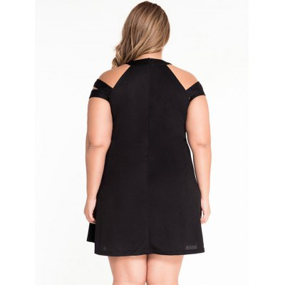 Cold Shoulder Black Flounced DressMini Dresses<br>Cold Shoulder Black Flounced Dress<br><br>Material: Polyester<br>Package Contents: 1 x Dress<br>Package size: 30.00 x 24.00 x 3.00 cm / 11.81 x 9.45 x 1.18 inches<br>Package weight: 0.340 kg<br>Product weight: 0.300 kg<br>Size: XXL,XXXL
