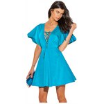 cheap V-neck Lace-up Front Flounced Mini Dress