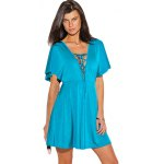 V-neck Lace-up Front Flounced Mini Dress