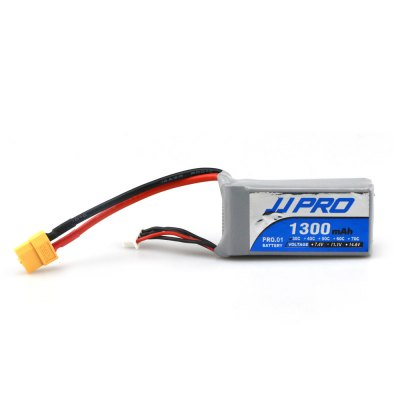 Original JJRC 11.1V 3S 1300mAh 30C XT60 Plug BatteryBattery<br>Original JJRC 11.1V 3S 1300mAh 30C XT60 Plug Battery<br><br>Battery Coulomb: 30C<br>Battery Voltage: 3S<br>Brand: JJRC<br>Charging Time.: 25mins<br>Flying Time: 9~10mins<br>Package Contents: 1 x 11.1V 1300mAh Battery, 1 x Strap, 1 x Bag, 1 x Double-side Adhesive<br>Package size (L x W x H): 11.00 x 7.00 x 4.00 cm / 4.33 x 2.76 x 1.57 inches<br>Package weight: 0.140 kg<br>Plug Type: XT60<br>Product size (L x W x H): 10.00 x 3.50 x 2.20 cm / 3.94 x 1.38 x 0.87 inches<br>Type: Battery