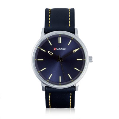 CURREN 8233 Casual Men Quartz WatchMens Watches<br>CURREN 8233 Casual Men Quartz Watch<br><br>Band material: Leather<br>Band size: 25 x 2 cm / 9.84 x 0.79 inches<br>Brand: Curren<br>Case material: Stainless Steel<br>Clasp type: Pin buckle<br>Dial size: 4.2 x 4.2 x 1 cm / 1.65 x 1.65 x 0.39 inches<br>Display type: Analog<br>Movement type: Quartz watch<br>Package Contents: 1 x CURREN 8233 Fashion Men Quartz Watch<br>Package size (L x W x H): 26.00 x 5.20 x 2.00 cm / 10.24 x 2.05 x 0.79 inches<br>Package weight: 0.078 kg<br>Product size (L x W x H): 25.00 x 4.20 x 1.00 cm / 9.84 x 1.65 x 0.39 inches<br>Product weight: 0.043 kg<br>Shape of the dial: Round<br>Watch color: Deep Blue, Black + Brown, White + Brown<br>Watch style: Casual<br>Watches categories: Male table<br>Water resistance : Life water resistant<br>Wearable length: 17 - 22.5 cm / 6.69 - 8.86 inches
