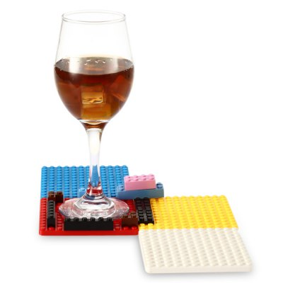 DIY Creative Building Block Style Brick Cup Mat Set
