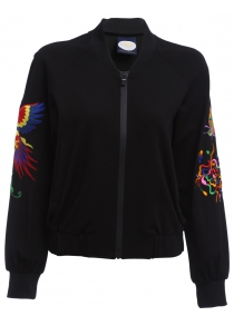 Full Zip Embroidered Sleeve Jacket for Women