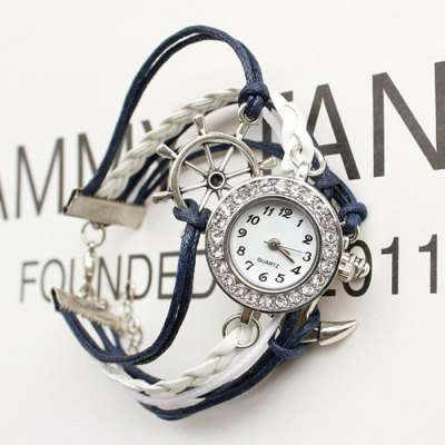 Punk Style DIY Woven Bracelet Lady Quartz WatchWomens Watches<br>Punk Style DIY Woven Bracelet Lady Quartz Watch<br><br>Watches categories: Female table<br>Watch style: Bracelet Style<br>Watch color: Blue, Black, Purplish Blue, White, Colorful<br>Movement type: Quartz watch<br>Shape of the dial: Round<br>Display type: Analog<br>Case material: Alloy<br>Band material: PU<br>Clasp type: Jewelry clasp<br>Dial size: 2.5 x 2.5 x 0.5 cm / 0.98 x 0.98 x 0.2 inches<br>Band size: 16 x 2.5 cm / 6.3 x 0.98 inches<br>Product weight: 0.025 kg<br>Package weight: 0.050 kg<br>Product size (L x W x H): 16.00 x 2.50 x 0.50 cm / 6.3 x 0.98 x 0.2 inches<br>Package size (L x W x H): 20.00 x 8.00 x 3.50 cm / 7.87 x 3.15 x 1.38 inches<br>Package Contents: 1 x Punk Style DIY Woven Bracelet Lady Quartz Watch