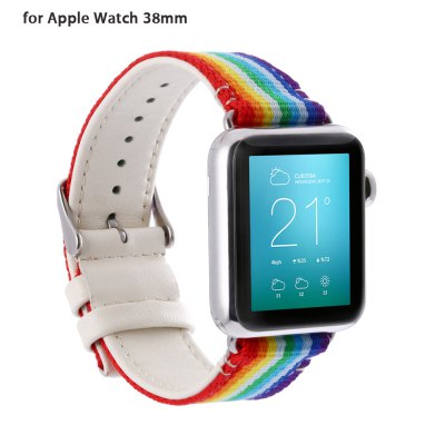 Colorful Pattern Genuine Leather Watchband for Apple Watch 38mm