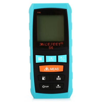 MileSeey S6 IP54 Laser Range FinderLaser Rangefinder, Electronic Distance Meter<br>MileSeey S6 IP54 Laser Range Finder<br><br>Area Measurement: Yes<br>Brand: MileSeey<br>Color: Colormix<br>Continuous Measurement: Yes<br>Detection Range (Meter): 0-80<br>Measurement Accuracy: 1.5mm<br>Measuring Unit: Meter<br>Model: S6<br>Package Contents: 1 x Measure Range Finder, 2 x 1.5V AAA Battery, 1 x Fabric Sleeve, 1 x Strap, 1 x Screwdriver, 1 x English User Manual<br>Package size (L x W x H): 17.50 x 11.00 x 7.00 cm / 6.89 x 4.33 x 2.76 inches<br>Package weight: 0.340 kg<br>Product size (L x W x H): 11.50 x 5.20 x 3.20 cm / 4.53 x 2.05 x 1.26 inches<br>Product weight: 0.118 kg<br>Pythagoras Measurement: Yes<br>Volume Measurement: Yes