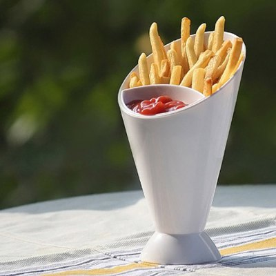 French Fry Cone Dipping Cup 2 in 1 Ice Water Mug
