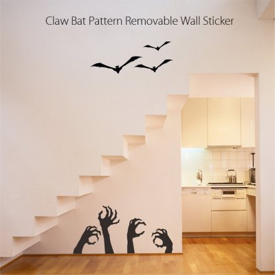 Claw Bat Pattern Removable Wall Sticker Creative Halloween Gift