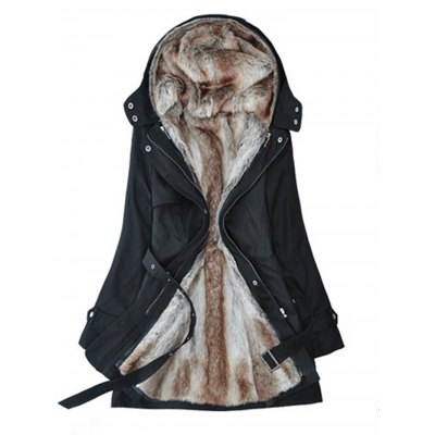 Double Breasted Fur Liner Overcoat for Women