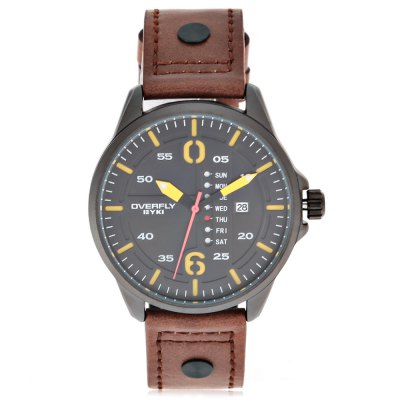EYKI OVERFLY 3058 Casual Men Quartz WatchMens Watches<br>EYKI OVERFLY 3058 Casual Men Quartz Watch<br><br>Available Color: Army green,Black,White<br>Band material: PU Leather<br>Band size: 25.4 x 2.2 cm / 10 x 0.87 inches<br>Brand: Eyki<br>Case material: Alloy<br>Clasp type: Pin buckle<br>Dial size: 4.5 x 4.5 x 1.2 cm / 1.77 x 1.77 x 0.47 inches<br>Display type: Analog<br>Movement type: Quartz watch<br>Package Contents: 1 x EYKI OVERFLY 3058 Casual Male Quartz Watch, 1 x Box<br>Package size (L x W x H): 8.60 x 8.00 x 5.30 cm / 3.39 x 3.15 x 2.09 inches<br>Package weight: 0.117 kg<br>Product size (L x W x H): 25.40 x 4.50 x 1.20 cm / 10 x 1.77 x 0.47 inches<br>Product weight: 0.050 kg<br>Shape of the dial: Round<br>Special features: Day, Date<br>Watch style: Casual<br>Watches categories: Male table<br>Wearable length: 18 - 23 cm / 7.09 x 9.06 inches