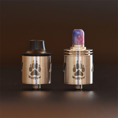 Original VAPJOY WOLFPAW RDARebuildable Atomizers<br>Original VAPJOY WOLFPAW RDA<br><br>Type: Rebuildable Atomizer,Rebuildable Drippers<br>Rebuildable Atomizer: RBA,RDA<br>Model: WOLFPAW<br>Available color: Black,Red,Silver<br>Material: Stainless Steel<br>Thread: 510<br>Overall Diameter: 24mm<br>Product weight: 0.047 kg<br>Package weight: 0.130 kg<br>Product size (L x W x H): 2.40 x 2.40 x 3.41 cm / 0.94 x 0.94 x 1.34 inches<br>Package size (L x W x H): 8.00 x 6.50 x 6.00 cm / 3.15 x 2.56 x 2.36 inches<br>Package Contents: 1 x WOLFPAW RDA, 1 x Delrin Wide Drip Tip, 1 x 510 Std Resin Drip Tip ( Color by Random ), 1 x T Shape Multifunctional Screwdriver, 4 x Coil, 1 x VAPJOY Band ( Color by Random ), 1 x Hollow Center P