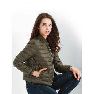 Stand-up Collar Short Down Jacket for Women
