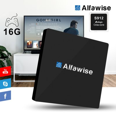 Alfawise S92 Digital TV Box Octa Core Amlogic S912 Android 6.0TV Box &amp; Mini PC<br>Alfawise S92 Digital TV Box Octa Core Amlogic S912 Android 6.0<br><br>Brand: Alfawise<br>Model: S92<br>Type: TV Box<br>System: Android 6.0<br>CPU: Amlogic S912<br>Core: 2.0GHz,Octa Core<br>GPU: ARM Mali-T820MP3<br>RAM: 2G<br>RAM Type: DDR3<br>ROM: 16G<br>Maximum External Hard Drives Capacity: 500GB<br>Color: Black<br>Decoder Format: H.264,H.265,RealVideo8/9/10<br>Video format: 1080P,4K,4K x 2K<br>Audio format: AAC,ACC,WAV,WMA<br>Photo Format: BMP,GIF,JPEG,JPG,PNG,TIFF<br>Support 5.1 Surround Sound Output: No<br>5G WiFi: No<br>WIFI: 802.11 a/b/g/n/ac<br>Bluetooth: Bluetooth4.0<br>Power Supply: Charge Adapter<br>Interface: DC Power Port,Ethernet,HDMI,Micro SD Card Slot,SPDIF,USB2.0<br>Language: Multi-language<br>DVD Support: No<br>HDMI Version: 2.0<br>Other Functions: Others<br>External Subtitle Supported: No<br>System Bit: 64Bit<br>KODI Pre-installed: Yes<br>Power Type: External Power Adapter Mode<br>Power Adapter Input: 100-240V / 50-60Hz<br>Power Adapter Output: 5V 2A<br>Product weight: 0.179 kg<br>Package weight: 0.430 kg<br>Product size (L x W x H): 11.00 x 11.00 x 1.70 cm / 4.33 x 4.33 x 0.67 inches<br>Package size (L x W x H): 19.60 x 11.50 x 5.30 cm / 7.72 x 4.53 x 2.09 inches<br>Package Contents: 1 x Alfawise S92 TV Box, 1 x Remote Control, 1 x HDMI Cable, 1 x Power Adapter, 1 x English Manual