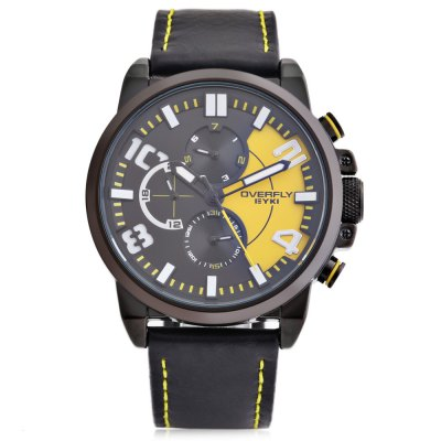 EYKI OVERFLY 3061 Casual Men Quartz WatchMens Watches<br>EYKI OVERFLY 3061 Casual Men Quartz Watch<br><br>Available Color: Green,Orange,Red,White,Yellow<br>Band material: PU Leather<br>Band size: 25.5 x 2.2 cm / 10.04 x 0.87 inches<br>Brand: Eyki<br>Case material: Alloy<br>Clasp type: Pin buckle<br>Dial size: 4.6 x 4.6 x 1.2 cm / 1.81 x 1.81 x 0.47 inches<br>Display type: Analog<br>Movement type: Quartz watch<br>Package Contents: 1 x EYKI OVERFLY 3061 Casual Men Quartz Watch, 1 x Box<br>Package size (L x W x H): 8.60 x 8.00 x 5.30 cm / 3.39 x 3.15 x 2.09 inches<br>Package weight: 0.130 kg<br>Product size (L x W x H): 25.50 x 4.60 x 1.20 cm / 10.04 x 1.81 x 0.47 inches<br>Product weight: 0.062 kg<br>Shape of the dial: Round<br>Special features: Date, Day, Working sub-dial, Luminous<br>Watch style: Casual<br>Watches categories: Male table<br>Wearable length: 18.4 - 23.3 cm / 7.24 - 9.17 inches
