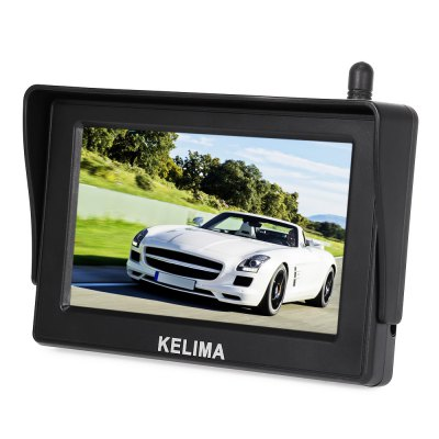 KELIMA 088 Car 18 IR LEDs Rearview Camera + 4.3 inch DisplayOther Car Gadgets<br>KELIMA 088 Car 18 IR LEDs Rearview Camera + 4.3 inch Display<br><br>Aspect ratio: 16:9,4?3<br>Connectivity: Wireless<br>Display Resolution: 480 x 272<br>Display screen : TFT<br>LED Quantity: 18<br>Night vision : Yes<br>Other Features: 4.3 inch<br>Package Contents: 1 x KELIMA 088 Rear View Camera, 1 x Display, 2 x 0.1m Antenna, 1 x Car Charger with 3.1m Cable, 1 x 1m Power Line, 2 x Monitor Mount, 1 x 1.5m AV Cable, 1 x English User Manual<br>Package size (L x W x H): 20.00 x 15.00 x 7.00 cm / 7.87 x 5.91 x 2.76 inches<br>Package weight: 0.680 kg<br>Power Supply: DC 12 - 24V ( input )<br>Product weight: 0.400 kg<br>Type: Camera Monitor<br>Video format: PAL, NTSC<br>Waterproof level: IP68