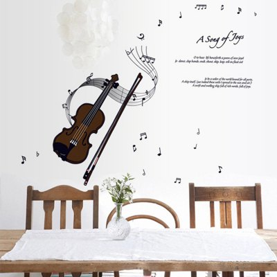 Violin Pattern Home Appliances Decoration Wall Sticker