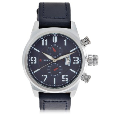 CURREN 8200 Casual Men Rolling Date Screen Quartz WatchMens Watches<br>CURREN 8200 Casual Men Rolling Date Screen Quartz Watch<br><br>Band material: Leather<br>Band size: 26.3 x 2.2 cm / 10.35 x 0.87 inches<br>Brand: Curren<br>Case material: Alloy<br>Clasp type: Pin buckle<br>Dial size: 4.3 x 4.3 x 1.4 cm / 1.69 x 1.69 x 0.55 inches<br>Display type: Analog<br>Movement type: Quartz watch<br>Package Contents: 1 x CURREN 8200 Casual Men Quartz Watch, 1 x Box<br>Package size (L x W x H): 8.50 x 8.00 x 5.50 cm / 3.35 x 3.15 x 2.17 inches<br>Package weight: 0.1480 kg<br>Product size (L x W x H): 26.30 x 4.30 x 1.40 cm / 10.35 x 1.69 x 0.55 inches<br>Product weight: 0.0820 kg<br>Shape of the dial: Round<br>Watch color: Black, Blue, Black + Gold, Black + Silver<br>Watch mirror: Mineral glass<br>Watch style: Casual<br>Watches categories: Male table<br>Water resistance : Life water resistant<br>Wearable length: 18.8 - 23.6 cm / 7.4 - 9.29 inches