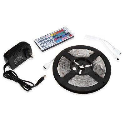 SENCART RGB Strip Light SetLED Strips<br>SENCART RGB Strip Light Set<br><br>Brand: Sencart<br>Type: LED Strip<br>Features: Cuttable,Low Power Consumption,Remote Control,Waterproof<br>Length: 5m<br>LED Type: SMD-5630<br>Number of LEDs: 300<br>Actual Lumens: 23 - 25Lm / LED<br>Optional Light Color: RGB<br>Connector type: EU plug,US plug<br>Input Voltage: DC12<br>Rated Power (W): 90W<br>Product weight: 0.146 kg<br>Package weight: 0.307 kg<br>Product size (L x W x H): 16.70 x 16.70 x 1.10 cm / 6.57 x 6.57 x 0.43 inches<br>Package size (L x W x H): 23.80 x 21.90 x 6.50 cm / 9.37 x 8.62 x 2.56 inches<br>Package Contents: 1 x SENCART LED Light Strip, 1 x Controller, 1 x Remote Controller ( with 1 x Button Battery ), 1 x Adapter