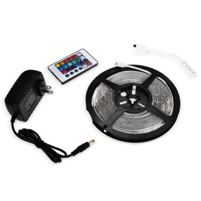 SENCART RGB Light Strip SetLED Strips<br>SENCART RGB Light Strip Set<br><br>Actual Lumens: 23 - 25Lm / LED<br>Brand: Sencart<br>Connector Type: EU plug, US plug<br>Features: Cuttable, Waterproof, Remote Control, Low Power Consumption, IP-68<br>Input Voltage: DC12<br>LED Type: SMD-5630<br>Length: 5m<br>Number of LEDs: 300<br>Optional Light Color: RGB<br>Package Contents: 1 x SENCART LED Light Strip, 1 x Controller, 1 x Remote Controller ( with 1 x Button Battery ), 1 x Adapter<br>Package size (L x W x H): 21.50 x 20.80 x 6.50 cm / 8.46 x 8.19 x 2.56 inches<br>Package weight: 0.304 kg<br>Product size (L x W x H): 16.50 x 16.50 x 1.20 cm / 6.5 x 6.5 x 0.47 inches<br>Product weight: 0.157 kg<br>Rated Power (W): 90W<br>Type: LED Strip