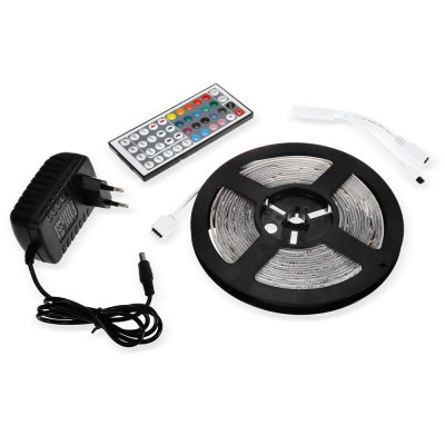 SENCART RGB Strip Light SetLED Strips<br>SENCART RGB Strip Light Set<br><br>Actual Lumens: 23 - 25Lm / LED<br>Brand: Sencart<br>Connector Type: US plug, EU plug<br>Features: Remote Control, Waterproof, Low Power Consumption, Cuttable<br>Input Voltage: DC12<br>LED Type: SMD-5630<br>Length: 5m<br>Number of LEDs: 300<br>Optional Light Color: RGB<br>Package Contents: 1 x SENCART LED Light Strip, 1 x Controller, 1 x Remote Controller ( with 1 x Button Battery ), 1 x Adapter<br>Package size (L x W x H): 23.80 x 21.90 x 6.50 cm / 9.37 x 8.62 x 2.56 inches<br>Package weight: 0.307 kg<br>Product size (L x W x H): 16.70 x 16.70 x 1.10 cm / 6.57 x 6.57 x 0.43 inches<br>Product weight: 0.146 kg<br>Rated Power (W): 90W<br>Type: LED Strip