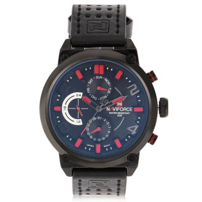 NAVIFORCE 9068L Business Men Quartz WatchMens Watches<br>NAVIFORCE 9068L Business Men Quartz Watch<br><br>Available Color: Gray,Red,White,Yellow<br>Band material: PU Leather<br>Band size: 27.5 x 2.2 cm / 10.83 x 0.87 inches<br>Brand: Naviforce<br>Case material: Alloy<br>Clasp type: Pin buckle<br>Dial size: 4.8 x 4.8 x 1.2 cm / 1.89 x 1.89 x 0.47 inches<br>Display type: Analog<br>Movement type: Quartz watch<br>Package Contents: 1 x NAVIFORCE 9068L Business Men Quartz Watch, 1 x Box<br>Package size (L x W x H): 11.20 x 8.50 x 6.50 cm / 4.41 x 3.35 x 2.56 inches<br>Package weight: 0.208 kg<br>Product size (L x W x H): 27.50 x 4.80 x 1.20 cm / 10.83 x 1.89 x 0.47 inches<br>Product weight: 0.091 kg<br>Shape of the dial: Round<br>Special features: Working sub-dial<br>Watch style: Business<br>Watches categories: Male table<br>Water resistance : 30 meters<br>Wearable length: 20.7 - 25 cm / 8.15 - 9.84 inches