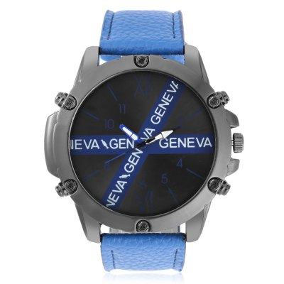 GENEVA 2203 Fashion X-shaped Pattern Dial Men Quartz WatchMens Watches<br>GENEVA 2203 Fashion X-shaped Pattern Dial Men Quartz Watch<br><br>Band material: PU Leather<br>Band size: 26.8 x 2.6 cm / 10.55 x 1.02 inches<br>Brand: Geneva<br>Case material: Alloy<br>Clasp type: Pin buckle<br>Dial size: 5.6 x 5.6 x 1.6 cm / 2.20 x 2.20 x 0.63 inches<br>Display type: Analog<br>Movement type: Quartz watch<br>Package Contents: 1 x GENEVA 2203 Fashion Men Quartz Watch<br>Package size (L x W x H): 16.00 x 6.60 x 2.60 cm / 6.3 x 2.6 x 1.02 inches<br>Package weight: 0.110 kg<br>Product size (L x W x H): 26.80 x 5.60 x 1.60 cm / 10.55 x 2.2 x 0.63 inches<br>Product weight: 0.077 kg<br>Shape of the dial: Round<br>Watch color: Black, Silver White, Blue, Red<br>Watch style: Fashion<br>Watches categories: Male table<br>Wearable length: 20 - 24 cm / 7.87 - 9.45 inches