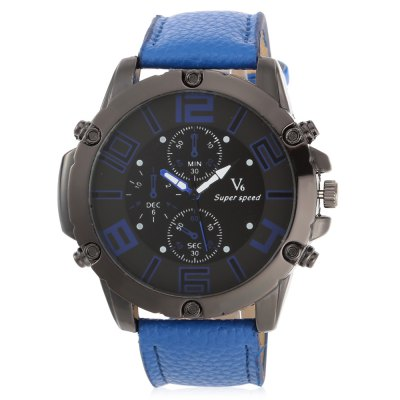 V6 Super Speed 2201 Fashion Men Quartz WatchMens Watches<br>V6 Super Speed 2201 Fashion Men Quartz Watch<br><br>Available Color: Black,Blue,Orange,Yellow<br>Band material: PU Leather<br>Band size: 26.2 x 2.6 cm / 10.31 x 1.02 inches<br>Brand: V6<br>Case material: Alloy<br>Clasp type: Pin buckle<br>Dial size: 5.3 x 5.3 x 1.2 cm / 2.09 x 2.09 x 0.47 inches<br>Display type: Analog<br>Movement type: Quartz watch<br>Package Contents: 1 x V6 Super Speed 2201 Fashion Men Quartz Watch<br>Package size (L x W x H): 16.00 x 6.30 x 2.20 cm / 6.3 x 2.48 x 0.87 inches<br>Package weight: 0.110 kg<br>Product size (L x W x H): 26.20 x 5.30 x 1.20 cm / 10.31 x 2.09 x 0.47 inches<br>Product weight: 0.077 kg<br>Shape of the dial: Round<br>Special features: Decorative sub-dial<br>Watch style: Fashion<br>Watches categories: Male table<br>Wearable length: 19.8 - 23.2 cm / 7.80 - 9.13 inches