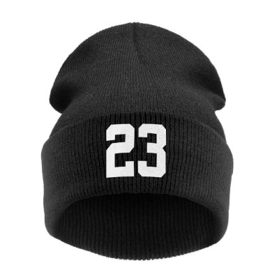 Number Print Knitted Hat Wool Cap for Women Men