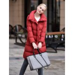 cheap Stand-up Collar Long Down Jacket for Women