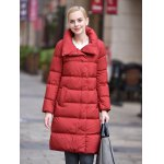 Stand-up Collar Long Down Jacket for Women for sale
