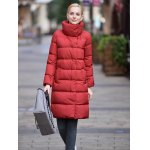 Stand-up Collar Long Down Jacket for Women photo