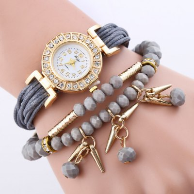 Rhinestone Beaded Faux Leather Bracelet Watch