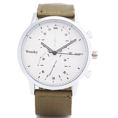 Weesky 1228G Casual Men Quartz WatchMens Watches<br>Weesky 1228G Casual Men Quartz Watch<br><br>Available Color: Army green,Black<br>Band material: Canvas<br>Band size: 25.2 x 2.2 cm / 9.92 x 0.87 inches<br>Brand: Weesky<br>Case material: Alloy<br>Clasp type: Pin buckle<br>Dial size: 4.3 x 4.3 x 1 cm / 1.69 x 1.69 x 0.39 inches<br>Display type: Analog<br>Movement type: Quartz watch<br>Package Contents: 1 x Weesky 1228G Casual Men Quartz Watch<br>Package size (L x W x H): 26.20 x 5.30 x 2.00 cm / 10.31 x 2.09 x 0.79 inches<br>Package weight: 0.080 kg<br>Product size (L x W x H): 25.20 x 4.30 x 1.00 cm / 9.92 x 1.69 x 0.39 inches<br>Product weight: 0.044 kg<br>Shape of the dial: Round<br>Watch style: Casual<br>Watches categories: Male table<br>Water resistance : Life water resistant<br>Wearable length: 18.2 - 23 cm / 7.17 - 9.06 inches