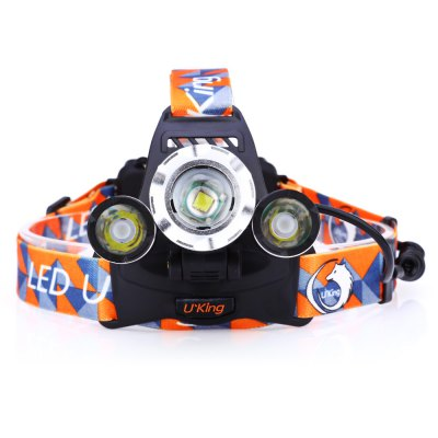 UKing ZQ - G808 LED HeadlampHeadlights<br>UKing ZQ - G808 LED Headlamp<br><br>Headlight brand: UKing<br>Model: ZQ-G808<br>Function: Camping,EDC,Exploring,Hiking,Household Use,Night Riding,Walking<br>Feature: Angle adjustment,Can be used as headlamp or bicycle light,Cooling Slot of High Efficiency,Power indicator light,Rotatable Head<br>Luminous Flux: 3600LM<br>Color Temperature: 6500-7000K<br>Main Lamp Beads: Cree XM-L T6<br>Beads Number: 3<br>Mode: 4 (1-LED; 2LED; 3-LED; SOS)<br>Battery Type: 18650<br>Battery Quantity: 2 (included)<br>Power Source: Battery<br>Working Voltage: 3.7V<br>Lens: Convex Lens<br>Beam Distance: &gt;500m<br>Working Time: Max 3h<br>Waterproof: IPX-4<br>Mode Memory: Yes<br>Focus: Yes<br>Rechargeable: Yes<br>Available Light Color: Cool White<br>Color: Black<br>Body Material: Aluminium Alloy<br>Product weight: 0.218 kg<br>Package weight: 0.422 kg<br>Product size (L x W x H): 8.00 x 5.50 x 3.50 cm / 3.15 x 2.17 x 1.38 inches<br>Package size (L x W x H): 11.50 x 11.00 x 10.00 cm / 4.53 x 4.33 x 3.94 inches<br>Package Contents: 1 x LED Headlamp, 1 x Headband, 2 x 4200mAh 18650 Battery, 1 x 100 - 250V EU Plug AC Charger, 1 x Car Charger, 1 x English Manual