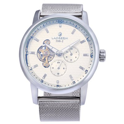 Laogeshi 398 - 2 Business Men Automatic Mechanical WatchMens Watches<br>Laogeshi 398 - 2 Business Men Automatic Mechanical Watch<br><br>Band material: Steel<br>Band size: 24 x 2.8 cm / 9.45 x 1.10 inches<br>Brand: Laogeshi<br>Case material: Stainless Steel<br>Clasp type: Pin buckle<br>Dial size: 4.8 x 4.8 x 1.8 cm / 1.89 x 1.89 x 0.71 inches<br>Display type: Analog<br>Movement type: Automatic mechanical watch<br>Package Contents: 1 x Laogeshi 398 - 2 Business Men Automatic Mechanical Watch<br>Package size (L x W x H): 25.00 x 5.80 x 2.80 cm / 9.84 x 2.28 x 1.1 inches<br>Package weight: 0.148 kg<br>Product size (L x W x H): 24.00 x 4.80 x 1.80 cm / 9.45 x 1.89 x 0.71 inches<br>Product weight: 0.113 kg<br>Shape of the dial: Round<br>Special features: Working sub-dial<br>Watch color: Off-white, Blue<br>Watch style: Business<br>Watches categories: Male table<br>Water resistance : Life water resistant<br>Wearable length: 17.8 - 22.2 cm / 7.01 - 8.74 inches