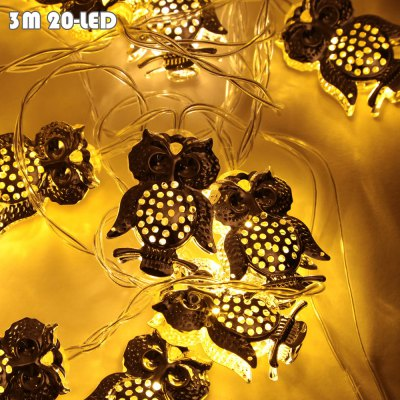 BRELONG Owl LED String LightLED Strips<br>BRELONG Owl LED String Light<br><br>Actual Lumens: 80LM<br>Battery: 3 x AA battery (not included)<br>Brand: BRELONG<br>Features: Waterproof, IP-44<br>Input Voltage: DC 5V<br>LED Type: SMD-0603<br>Length: 3M<br>Material: PC, Aluminum Alloy<br>Number of LEDs: 20<br>Optional Light Color: Warm White<br>Package Contents: 1 x BRLONG LED String Light<br>Package size (L x W x H): 12.00 x 12.00 x 12.00 cm / 4.72 x 4.72 x 4.72 inches<br>Package weight: 0.2350 kg<br>Product size (L x W x H): 300.00 x 3.50 x 5.00 cm / 118.11 x 1.38 x 1.97 inches<br>Product weight: 0.0800 kg<br>Rated Power (W): 1W<br>Type: LED String
