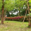 150kg Weight Load High Strength Canvas Material Hammock Camping Yard Hanging Bed with Carrying Bag for Ooutdoor Activities - Random Color Sent deal