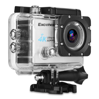 Excelvan Q8 4K 2 inch Display WiFi Action CameraAction Cameras<br>Excelvan Q8 4K 2 inch Display WiFi Action Camera<br><br>Brand: EXCELVAN<br>Model: Q8<br>Type: Sports Camera<br>Type of Camera: 4K<br>Chipset Name: Allwinner<br>Chipset: Allwinner V3<br>Max External Card Supported: TF 64G (not included)<br>Screen size: 2.0inch<br>Screen type: LCD<br>Screen resolution: 320x240<br>Battery Type: External<br>Battery Capacity (mAh): 900mAh<br>Charge way: AC adapter,Car charger,USB charge by PC<br>Working Time: Max 90 minutes<br>Standby time: 70 minutes<br>Charging time: 2h<br>Wide Angle: 170 degree wide angle<br>Lens Diameter: 17mm<br>Decode Format: H.264<br>Video format: MOV<br>Video Resolution: 1080P(30fps),1080P(60fps),2.7K (30fps),4K (30fps),720P (120fps)<br>Video Frame Rate: 120fps,30FPS,60FPS<br>Image Format : JPEG<br>Audio System: Built-in microphone/speaker (AAC)<br>White Balance Mode: Auto,Cloudy,Fluorescent,Incandescent,Sunny<br>Microphone: Built-in<br>WIFI: Yes<br>WiFi Function: Remote Control<br>WiFi Distance : 5M<br>Waterproof: No<br>Waterproof Rating : No<br>Loop-cycle Recording : Yes<br>Night vision : No<br>HDMI Output: Yes<br>Time Stamp: Yes<br>Camera Timer: Yes<br>Time lapse: Yes<br>Auto Focusing: No<br>Anti-shake: No<br>Aerial Photography: No<br>Interface Type: HDMI,Micro USB,TF Card Slot<br>Language: Deutsch,English,French,Italian,Japanese,Korean,Polski,Portuguese,Russian,Simplified Chinese,Spanish,Traditional Chinese<br>Product weight: 0.060 kg<br>Package weight: 0.738 kg<br>Product size (L x W x H): 5.90 x 4.00 x 2.30 cm / 2.32 x 1.57 x 0.91 inches<br>Package size (L x W x H): 25.40 x 13.30 x 6.70 cm / 10 x 5.24 x 2.64 inches<br>Package Contents: 1 x Q8 Action Camera, 1 x Waterproof Housing, 1 x Power Adapter, 1 x USB Cable, 1 x Handle Bar Mount, 7 x Mount, 1 x Clip, 2 x Helmet Mount, 4 x Bandage, 2 x Adhesive, 1 x Metal Tether, 2 x Plastic Te
