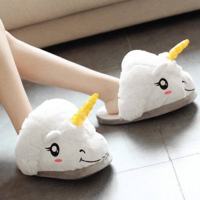 Paired Cartoon Style Soft Winter Slippers Cute Shoes Home Supply