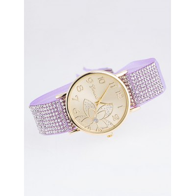 Ribbon Rhinestone Arabic Numerals Flower Quartz Watch