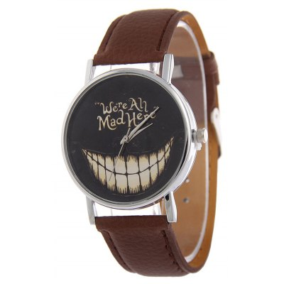 PU Leather Grinned Tooth Halloween Quartz Watch