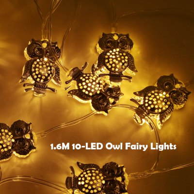 BRELONG 1.6M 10-LED LED String Fairy Lights with Metal Owls