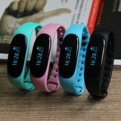 T02 Bluetooth 4.0 Smart WristbandSmart Watches<br>T02 Bluetooth 4.0 Smart Wristband<br><br>Bluetooth version: Bluetooth 4.0<br>Language: Arabic,English,French,German,Japanese,Korean,Polish,Portuguese,Russian,Simplified Chinese,Spanish<br>Waterproof: Yes<br>IP rating: IP65<br>Screen type: OLED<br>Operating mode: Touch Screen<br>Compatible OS: Android,IOS<br>Compatability: Android 4.3 / iOS 7.0 and above system<br>People: Female table,Male table<br>Available color: Black,Blue,Green,Pink<br>Type of battery: Polymer lithium battery<br>Battery Capacty: 60mAh<br>Standby time: About 5 - 7 days<br>Charging time: About 2hours<br>Functions: Alarm Clock,Call reminder,Calories burned measuring,Camera remote control,Date,Distance recording,Incoming calls show,Notification of app,Pedometer,Remote music,Sedentary reminder,Sleep management,SMS<br>Notification type: Facebook,Twitter,Wechat<br>Alert type: Vibration<br>Shape of the dial: Rectangle<br>Case material: PC<br>Band material: TPU<br>Dial size: 4.3 x 1.8 x 1.1 cm / 1.69 x 0.71 x 0.43 inches<br>Band size: 26.5 x 1.3 cm / 10.43 x 0.51 inches<br>Wearable length: 17 - 25 cm / 6.69 - 9.84 inches<br>Product weight: 0.015 kg<br>Package weight: 0.080 kg<br>Product size (L x W x H): 26.50 x 1.80 x 1.10 cm / 10.43 x 0.71 x 0.43 inches<br>Package size (L x W x H): 14.50 x 9.50 x 2.40 cm / 5.71 x 3.74 x 0.94 inches<br>Package Contents: 1 x T02 Smart Wristband, 1 x Charging Cable, 1 x Chinese and English User Manual