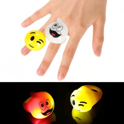 2PCS BRELONG Glowing LED Finger Ring Christmas Halloween Festival Decoration