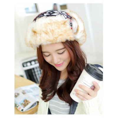 Snow Knitted Bomber Hat with Faux Fur Trim