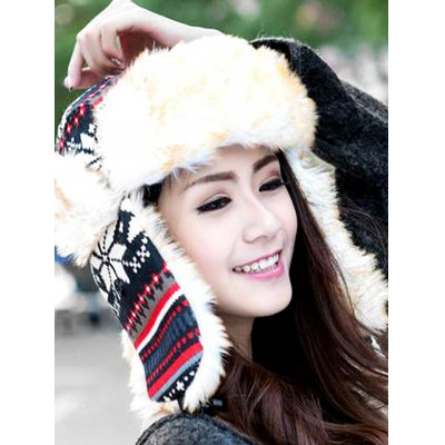 Snow Knitted Leifeng Hat with Faux Fur Trim