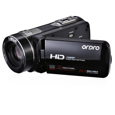 ORDRO HDV - Z8 PLUS 24MP 16X Digital Zoom DV CameraCamcorders<br>ORDRO HDV - Z8 PLUS 24MP 16X Digital Zoom DV Camera<br><br>Brand: Ordro<br>Pixel: 2400W<br>Screen size (inch): 3<br>Touch screen: Yes<br>Memory support : SD card<br>Storage medium: Flash memory DV<br>Internal memory storage: 2G<br>External memory storage(Maximum, not included): SD card up to 64GB<br>Screen size: 3.0 inch<br>Sensor: CMOS<br>Image resolutions: 1920 x 1080 (2MP HD),2048 x 1536 (3MP),2592 x 1944 (5MP),3648 x 2048 (7MP HD),3648 x 2736 (10MP),4000 x 3000 (12MP),5200 x 3900 (20MP),5600 x 4200 (24MP),640 x 480 (VGA)<br>Video Resolution: 1080 x 720,1920 x 1080,640 x 480<br>Video Frame Rate: 30FPS<br>Digital zoom: 16X<br>Function mode: Capture,Playback,Video<br>LED light: 2<br>Aperture: F/2.6, f=3.8mm<br>FOV: 90 degrees<br>White Balance: Automatic,Cloudy,Daylight,Florescent light,Tungsten light<br>ISO: 100,200,400,Auto<br>Exposure Compensation: -3.0~3.0<br>Language: Deutsch,Dutch,English,French,Italian,Japanese,Polski,Portuguese,Russian,Simplified Chinese,Spanish,Traditional Chinese,Turkish<br>Microphone: Built-in<br>Loudspeaker: Built-in<br>Interface: HDMI port,Mini USB interface,SD Card Slot,TV output interface<br>Other Functions: Continuous mode,DIS intelligent anti-shake,Face Detection,Playback,Remote Control<br>System requirement: Windows XP / Vista / 7 / 8 / 10<br>Frequency: 50Hz,60Hz<br>Battery Capacity (mAh?: 1250mAh<br>Working Time: 2h<br>Standby time: 20 days<br>Charging time: 3h<br>Product weight: 0.283 kg<br>Package weight: 0.800 kg<br>Product size (L x W x H): 12.10 x 5.50 x 5.50 cm / 4.76 x 2.17 x 2.17 inches<br>Package size (L x W x H): 19.50 x 16.00 x 9.50 cm / 7.68 x 6.3 x 3.74 inches<br>Package Contents: 1 x DV Camera, 1 x Battery, 1 x Charger, 1 x USB Cable, 1 x Power Adapter, 1 x AV Cable, 1 x HDMI Cable, 1 x Remote Controller, 1 x Carrying Bag, 1 x Chinese / English User Manual