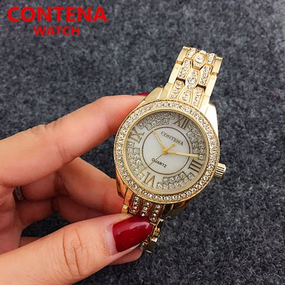 CONTENA Fashion Rhinestone Dial Lady Quartz WatchWomens Watches<br>CONTENA Fashion Rhinestone Dial Lady Quartz Watch<br><br>Available Color: Gold,Rose Gold,Silver<br>Band material: Stainless Steel<br>Band size: 27 x 2 cm / 10.63 x 0.79 inches<br>Case material: Stainless Steel<br>Clasp type: Folding clasp with safety<br>Dial size: 3.5 x 3.5 x 0.9 cm / 1.38 x 1.38 x 0.35 inches<br>Display type: Analog<br>Movement type: Quartz watch<br>Package Contents: 1 x CONTENA Fashion Lady Quartz Watch, 1 x Box<br>Package size (L x W x H): 9.00 x 9.00 x 6.00 cm / 3.54 x 3.54 x 2.36 inches<br>Package weight: 0.166 kg<br>Product size (L x W x H): 27.00 x 3.50 x 0.90 cm / 10.63 x 1.38 x 0.35 inches<br>Product weight: 0.093 kg<br>Shape of the dial: Round<br>Watch style: Fashion<br>Watches categories: Female table