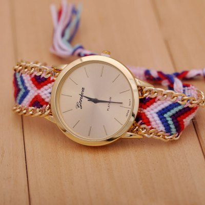 Geneva Female Japan Quartz Wrist Watch Pull Cords Bracelet Woven Woolen Round Dial